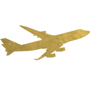 gold foil airplane